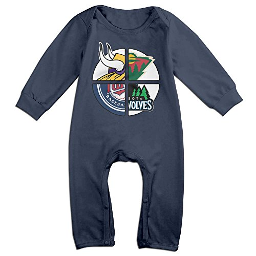 NORAL Babys Minnesota Sports Logo Mixed Long Sleeve Romper Bodysuit Outfits Navy Size 6 M