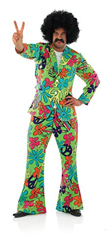 An In Your Face, Mens Peace Out Trippy Hippy Suit Costume. Very bright and colourful! Three sizes up to XL.