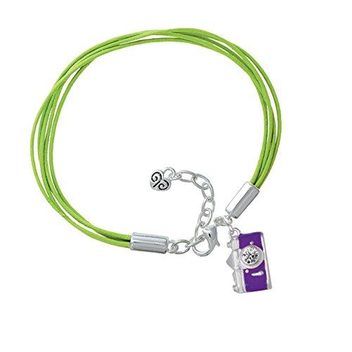 Purple Camera Lime Green Leather Aruba Bracelet