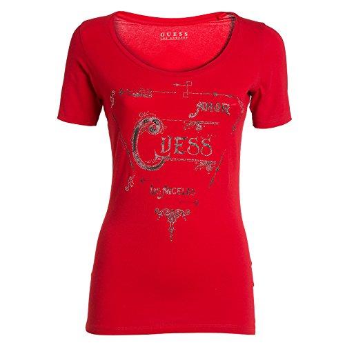 Guess Ss Rn Amor Tee T-Shirt, Donna, Multicolore (Tulip Red), Medium (Taglia produttore:M)