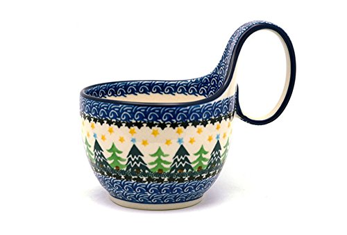 Polish Pottery Loop Handle Bowl - Christmas Trees Polish Pottery Christmas Tree