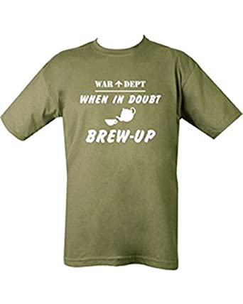 Kombat Mens Military Printed Army Combat US When In Doubt Brew Up T-shirt Tshirt War Dept (Small = Chest 86-91cm or 34-36 inch)