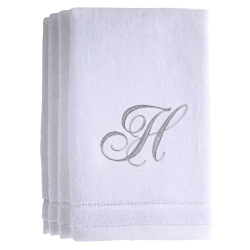 Monogrammed Towels Fingertip, Personalized Gift, 11 x 18 Inches - Set of 4- Silver Embroidered Towel - Extra Absorbent 100% Cotton- Soft Velour Finish - For Bathroom/ Kitchen/ Spa- Initial H (Personalized Palm Tree Guest Book)
