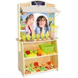 High Quality 4-in-1 Wooden Grocery Lemonade Stand Play Market Child's Toy