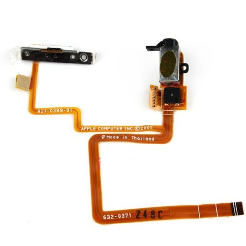 Black And White Audio Jack Flex Cable With Hold Switch For Ipod Video 30Gb (Black)