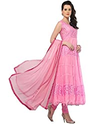 Clickedia Women's Net & Brasson Baby Pink Semi - Stitched Anarkali - Dress Material