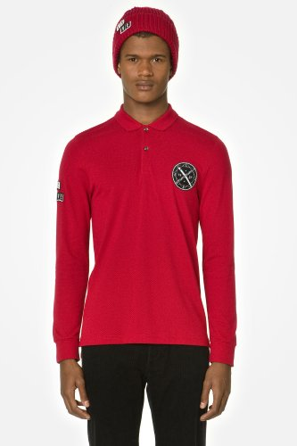 L!VE Long Sleeve Pique Polo With Novelty Crest