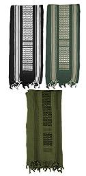 Mato & Hash Military Shemagh Tactical 100% Cotton Scarf Head Wrap - 3PK O.Drab/Foliage/B.White CA2100
