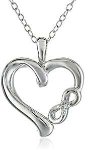 "Sterling Silver ""Infinite Love"" Heart Pendant Necklace with White Diamond (0.01 cttw, I-J Color, I2-3 Clarity), 18"""