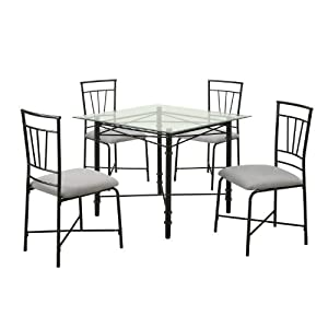 Cheap Dorel Asia 5 Piece Glass Top Metal Dining Set   Table U0026 Chair Sets