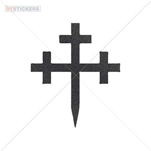 Vinyl Stickers Decals Ancient Cross Garage home window (5 X 4,28 In. ) Metallic Black