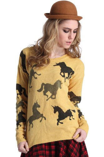 Romwe Women'S Horse Knitted Round Neck Long Sleeves Polyester Jumper-Yellow-M front-543810