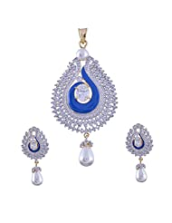 Nimbark Traders Brass And Metal White & Blue Color Designer Pendent Set With Earrings For Women - B00RFRGMW6