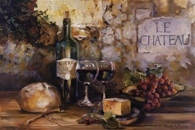 Le Chateau - Wine and Cheese and Grapes by Marilyn Hageman 36x24 Tuscan Art Print Poster (Cheese Wall Art compare prices)