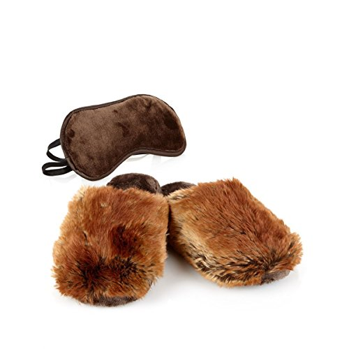 adrienne-landau-eye-mask-bedroom-slipper-set-large-9-10-chocolate