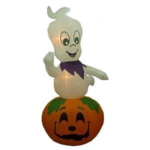9' Airblown Inflatable Ghost on Pumpkin Lighted Halloween Yard Art Decoration