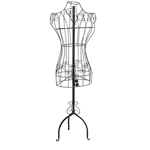 Designers Black Metal Adjustable Height Wire Frame Dress Form Display Stand with Garment Bag (Decorative Metal Dress Form compare prices)