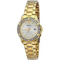 Seiko SUR714 Women's Crystal Dress Quartz Watch (Gold)