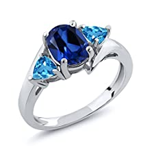 buy 2.16 Ct Oval Blue Simulated Sapphire Swiss Blue Topaz 925 Sterling Silver Ring