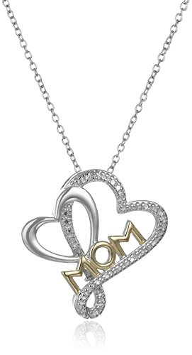 "Rhodium and 18k Yellow Gold Plated Sterling Silver Diamond Accent Heart ""Mom"" Pendant Necklace, 18"""