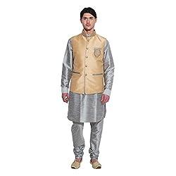 Favoroski Men Copper banarasi silk Waistcoats