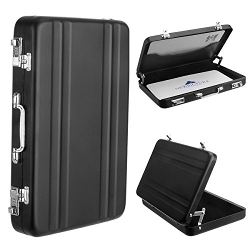 [Fujifilm Instax Mini Portable Photo/Card Case] Woodmin Creative Comprehensive Premium Aviation Aluminum Case for Fuji Instant Mini Films/ Business Cards/ ID Cards (Black) (Pic Display Case compare prices)