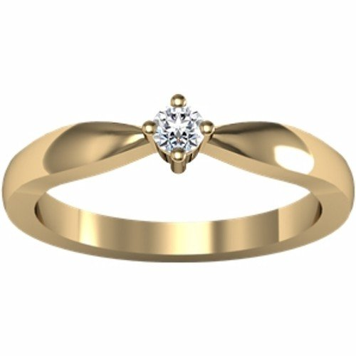 14K Yellow Gold Solitaire Diamond Ring - 0.10 Ct. - Size 6