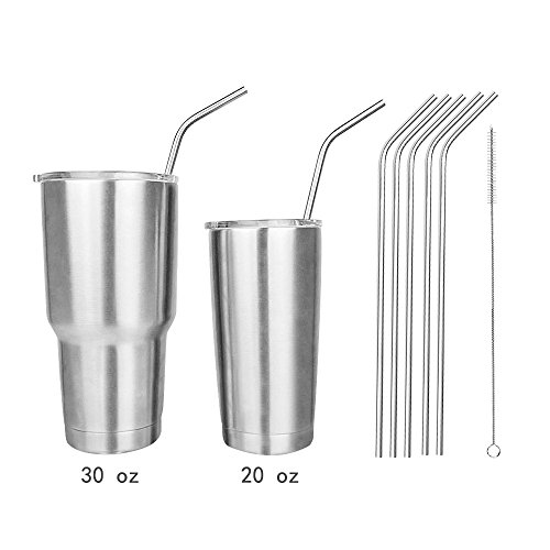 5pcs Extra Long 18/8 Bent Stainless Steel Straws for 20 & 30 Oz Yeti RTIC SIC Rambler Tumbler Cups Reusable 10.5inch Drinking Straws Set free Cleaning Brush (Extra Large Smoothie Cup compare prices)