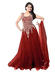 Ethnicbasket Women's Net Ethnic Semi-Stitched Gown (BE234014G_Red)