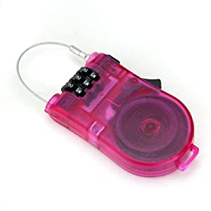 3-Feet Retractable Combination Cable Lock For Bike Travel Luggage (Shocking Pink)
