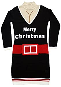 Ugly Christmas Sweater - Santa Suit Naughty Sweater Dress with Cleavage in Black