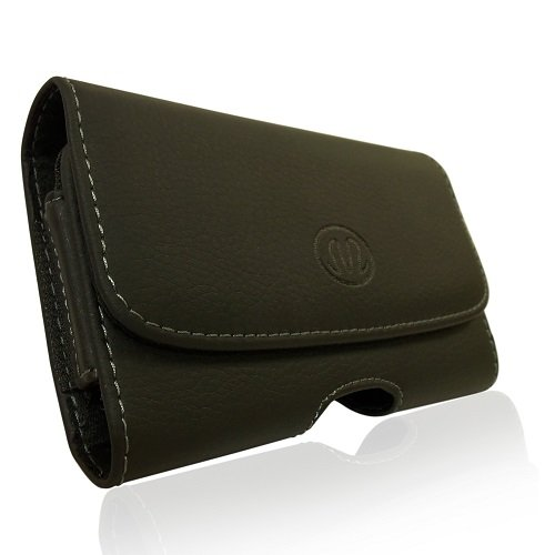 Horizontal Sideways Leather Belt Clip Case Cover Pouch Holster for BlackBerry Torch 9800 & Torch 9810 & Bold Slider / All Carriers, Including Verizon, Sprint, AT&T ATT, T-Mobile, Virgin Mobile, etc