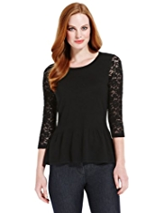 M&S Collection Floral Lace Sleeve Peplum Jumper
