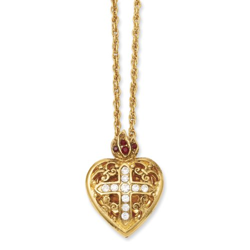Gold-tone Sacred Heart Cross Locket 18in Necklace Real Goldia Designer Perfect Jewelry Gift for Christmas