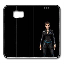buy S6 Leather Case Pu Material Hard Shell Flip Credit Card Holder Magnetic Stand Video Game Logo Poster Pattern Character Screen Adventure Fighting Galaxy S6-Tomb Raider Lara Croft