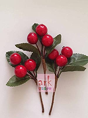 3X Large Red Berry Pick with Green Leaves