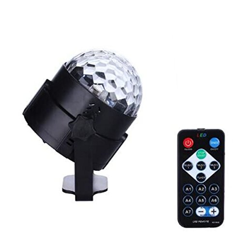 HeLe 2016 Newest With Remote Control 7 Color Changes Sound Actived Auto Flash RGB Mini Rotating Magic Ball Stage Lights For Party Hom DJ Disco Wedding KTV Pub (Black) (Dj Package Complete With Speakers compare prices)