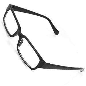 Black Rectangle Plastic Full Rim Clear Lens Glasses Spectacles