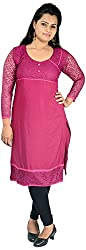 NelNik Women's Net and Cotton Kurta (Nel037_Medium, Purple, Small)