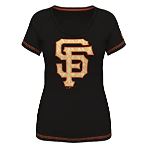 San Francisco Giants Ladies Bold Statement Black Scoop Neck T-shirt by Majestic