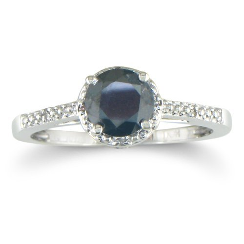 SuperJeweler 1/2ct Black and White Diamond Engagement Ring in Sterling Silver - P