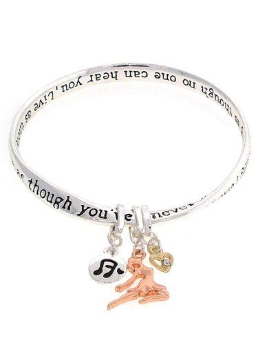 Dance Inspirational Charm Bracelet. 1/2 ~ 3/4 Inch L Charm.