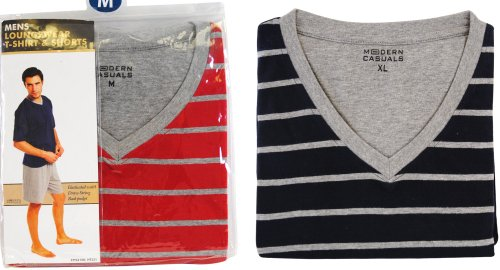 Modern Casuals Mens Red & Grey Stripe Cotton Jersey Short Pyjamas Medium HT331