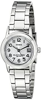 Casio Women's LTP-S100D-7BVCF Easy-To-Read Solar Stainless Steel Watch by Casio