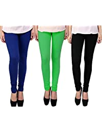 Snoogg Womens Ethnic Chic Inspired Churidar Leggings In Blue, Green And Blue