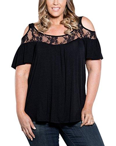 Women's Loose Short Sleeve Scoop Neck Cut Out Off Shoulder Crochet Lace Tops Blouse Plus Size (3X-Large,Black)