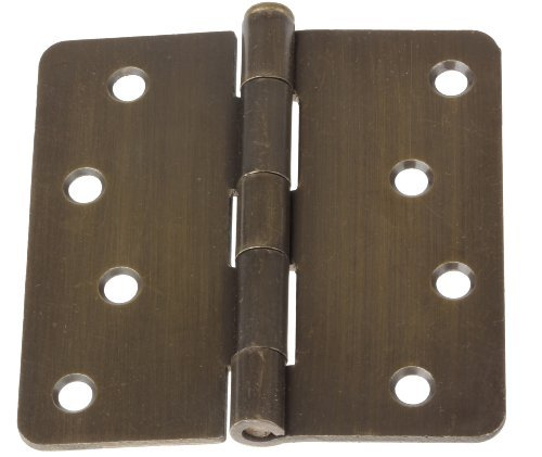"4014-AB-12 GlideRite 4"" Antique Brass Door Hinges 1/4"" Radius Corners (Pack of 12)"