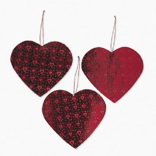 Lot of 12 Valentine Heart Cut Out Decorations Party - 1