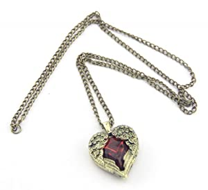 Baqi Retro Long Necklace Angel Wings Around Red Crystal Heart Pendant Coat Chain Red
