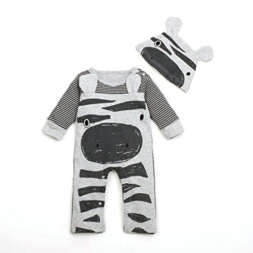 Baby Clothes, Egmy Cute 1Set Newborn Infant Baby Boys Girls Romper+Hat Jumpsuit Bodysuit Clothes Outfit (0-6M, Gray)